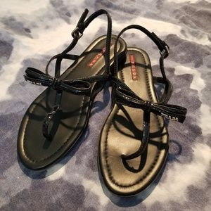 PRADA Black patent leather thong sandals